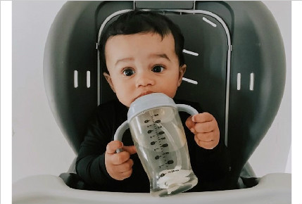 First time trying out his new sippy cup from #heorshe and turned out to be his favourite!!!